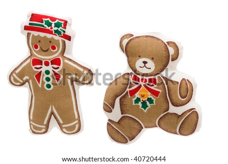A gingerbread man and a teddy bear isolated on a white background, snowman