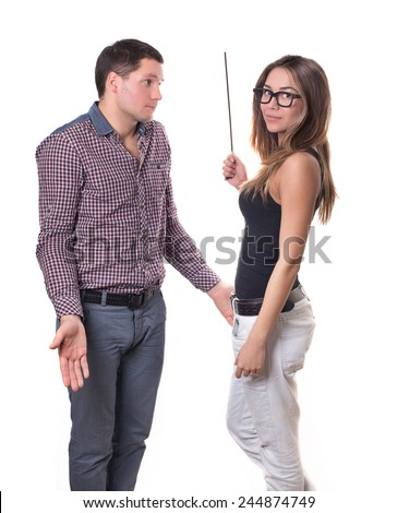 A girl and a guy in the role of teacher and student. Funny situation . Game . That'S Funny. role play - stock photo
