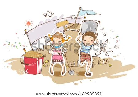 A girl and boy building a sandcastle. - stock photo