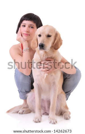 A girl and her dog (Labrador retriever)