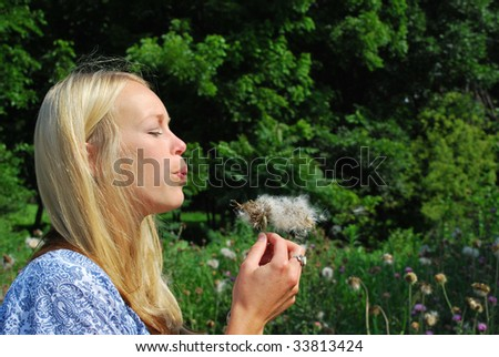 A girl blowing a very large dandelion - stock photo
