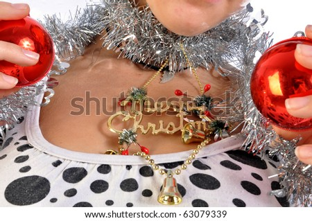 A girl dressed for Christmas wishes you a Merry Christmas