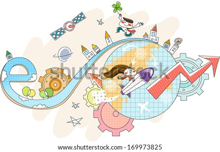 A girl going around the world on a rocket while a boy floats with a clover. - stock photo