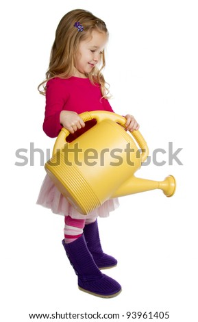 A girl holding a watering can,  Isolated on a white background - stock photo
