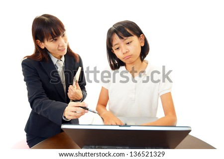 A girl in a uneasy look - stock photo