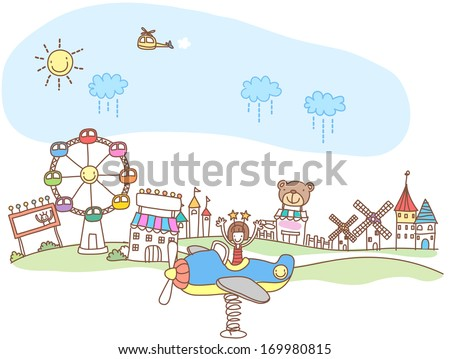A girl in an airplane playground toy sitting in front of a fair. - stock photo
