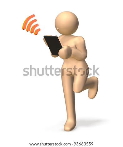 """A girl is delighted at the good news,watching her """"tablet pc"""". This is a computer generated image,on white background. - stock photo"""