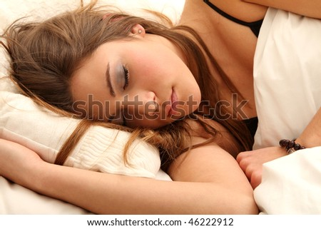 a girl is dreaming during sleeping