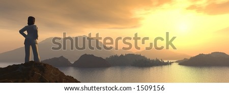 a girl looking at a beautiful sunset from the top of a mountain - stock photo