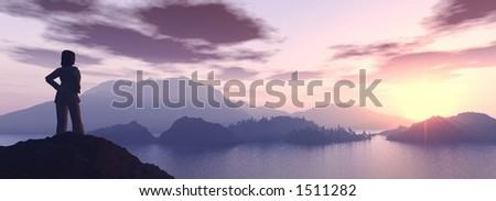 a girl looking at a dreamy sunset from the top of a mountain - stock photo