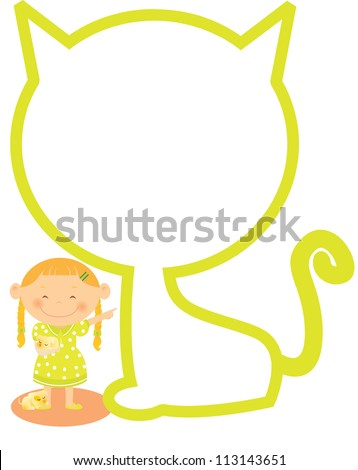 A girl near an outline of a cat holding a little dog - stock photo