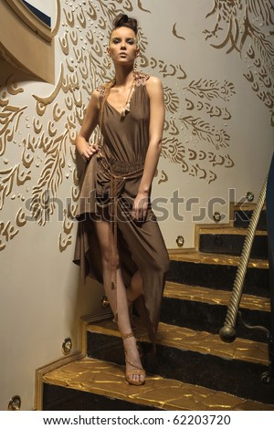 a girl on the stairs - stock photo