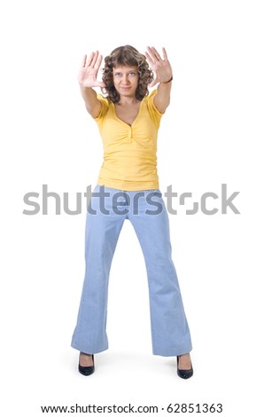 """A girl shows a gesture of """"stop"""" - stock photo"""