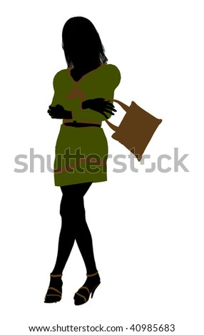 A girl silhouette fashionably dressed in a green outfit on a white background