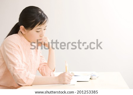 A girl studying at an institute