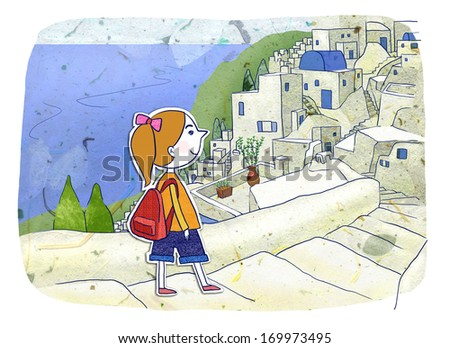 A girl walking down a stairway. - stock photo