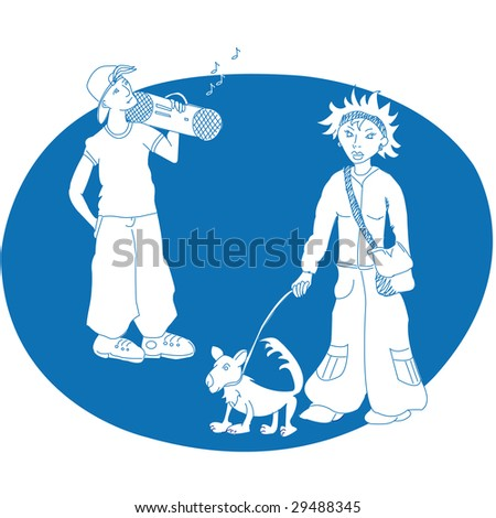 a girl with a dog and a boy with a radio - stock photo