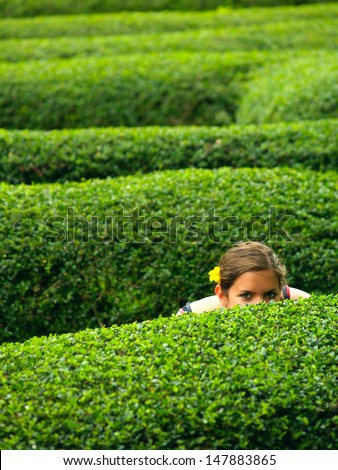 A girl with a flower in her hair, hiding in a maze - stock photo