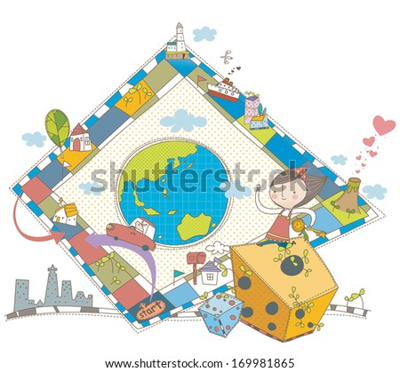 A girl with a large board game. - stock photo