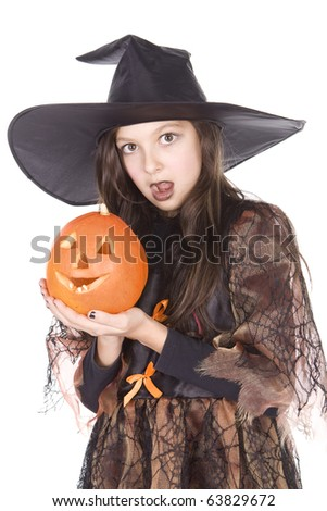 a girl with a pumpkin in hand on Halloween