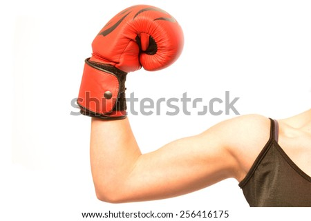 A girl with boxing gloves ready for the match
