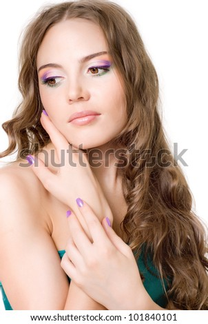 A girl with bright makeup, on white background - stock photo