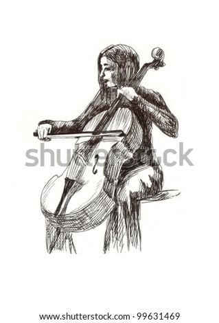 a girl with cello - classical music theme. Hand drawing (black marker) - stock photo