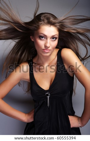 a girl with lon brown hair - stock photo