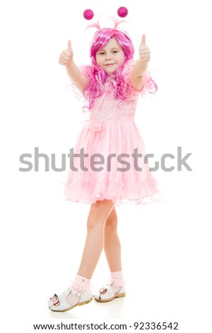 A girl with pink hair in a pink dress shows gesture okay on a white background. - stock photo