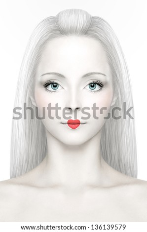 A girl with porcelain skin with heart-shaped red lipstick, big blue eyes and white hair - stock photo