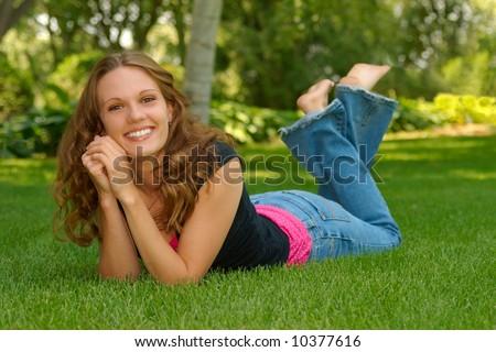 a girls senior portrait - stock photo