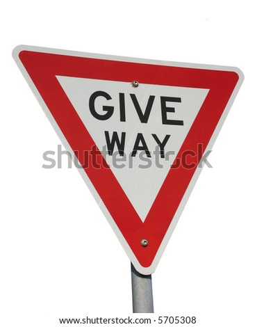 A give way sign isolated on white - stock photo