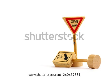 A give way traffic signal for children to learn to drive properly. - stock photo