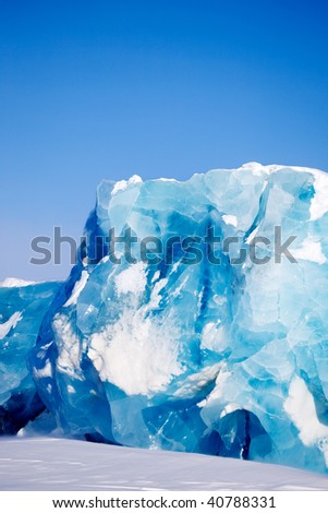 A glacier detail on the island of Spitsbergen, Svalbard, Norway