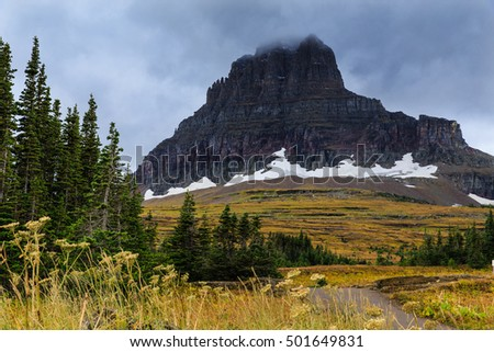 A glacier in Glacier/ Glacier in Glacier National Park/ A Glacier can still be seen in Glacier National Park, Montana