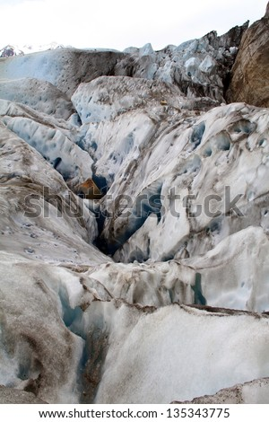 A glacier mixed with soil in it.