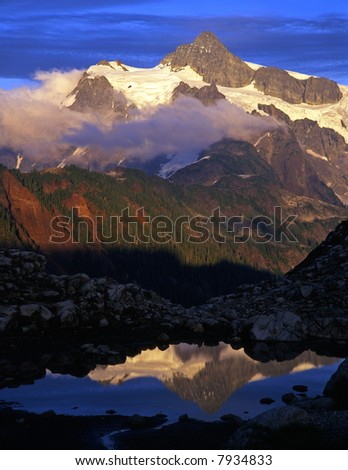 A glacier on Mt. Shuksan located in the North Cascades National Park of Washington State. - stock photo