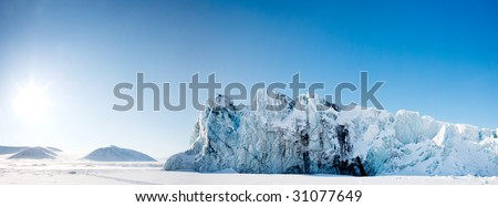 A glacier panorama from the island of Spitsbergen, Svalbard, Norway