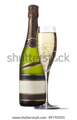 A glass and a bottle of champagne isolated on white