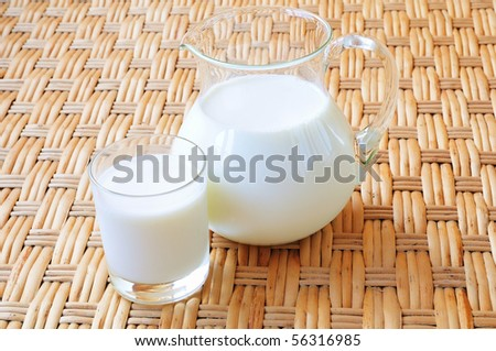 a glass and a jug of fresh milk