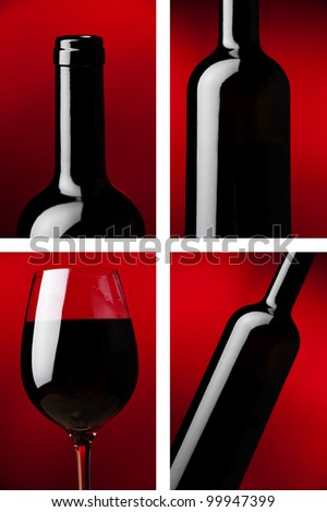 a glass and bottle of red wine at red backgrounds details - stock photo