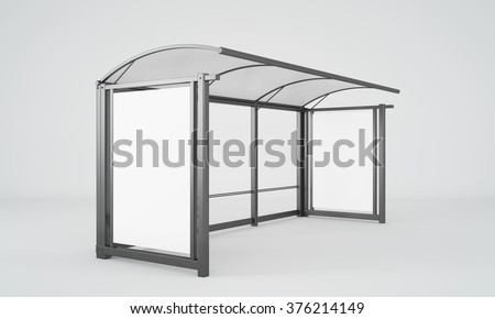 A glass and metal bus stop with a small bench and space for advertising. Side view. Concept of waiting for public transport. 3D rendering.