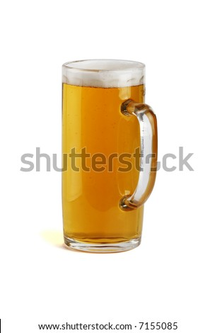 A glass beer mug filled with beer. Path. Isolated. - stock photo