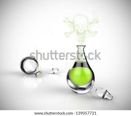 A glass bottle of poison with toxic vapor in the shape of a skeleton. Green chemical liquid in a glass beaker on a black background.