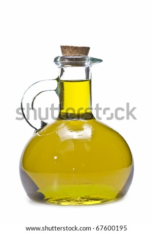 A glass bottle with olive oil isolated on a white background. - stock photo