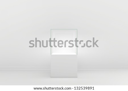 a glass box in the interior - stock photo