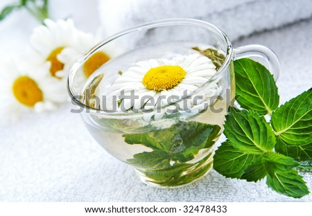 A glass cap of camomile-mint warm herbal tea, arranged by fresh camomile flowers and mint leaves using as alternative treatments in folk medicine, closeup, blur background - stock photo