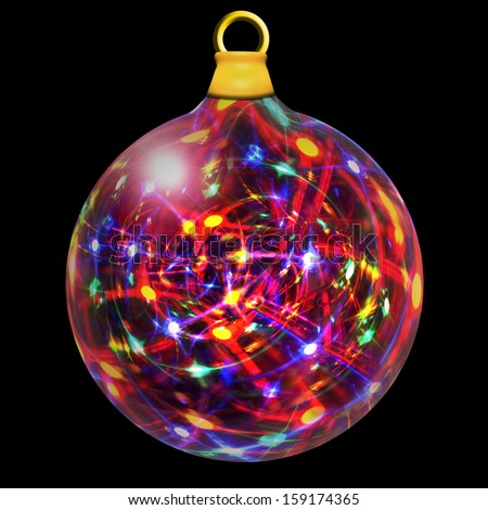 A glass Christmas bauble filled with multicolored lights isolated on a black background  - stock photo