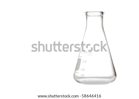 A glass erlenmeyer flask used for measurements isolated on white background. - stock photo