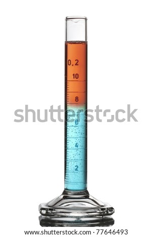 A glass flask filled with two liquids, red and blue. - stock photo